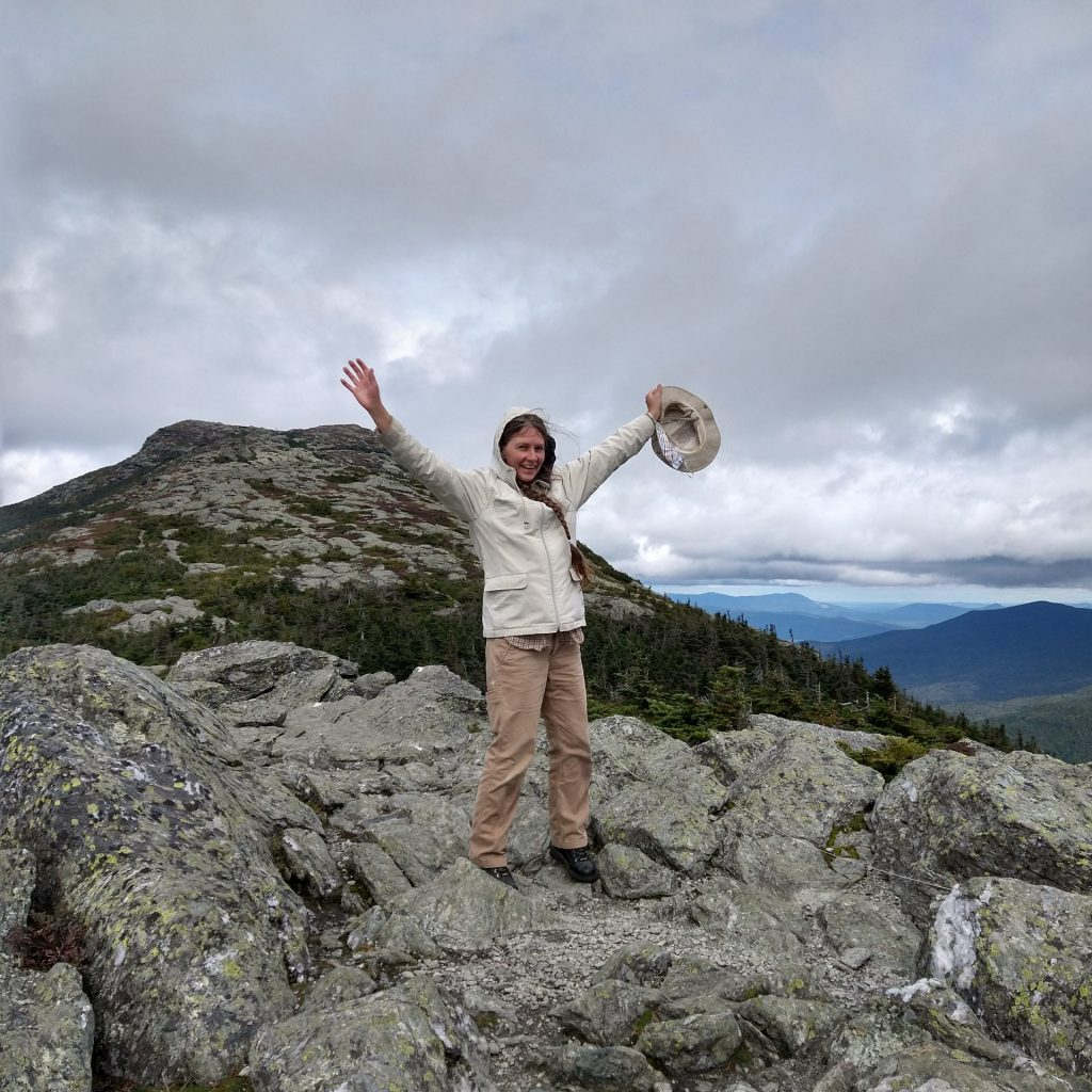 Jessica on top of Mount Mansfield