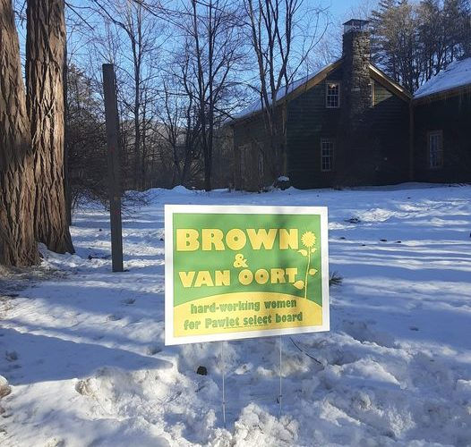 Brown and Van Oort campaign sign outside Jessica's house