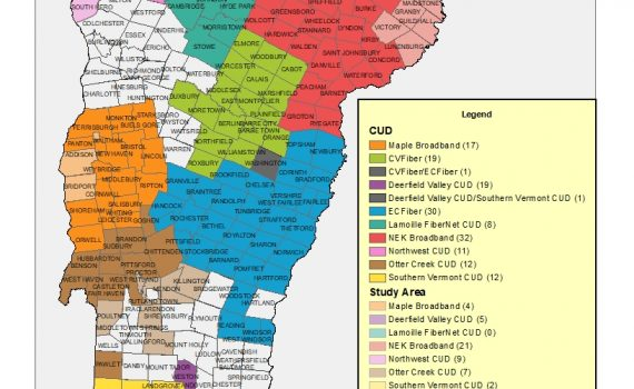 Map of Vermont Communications Union Districts